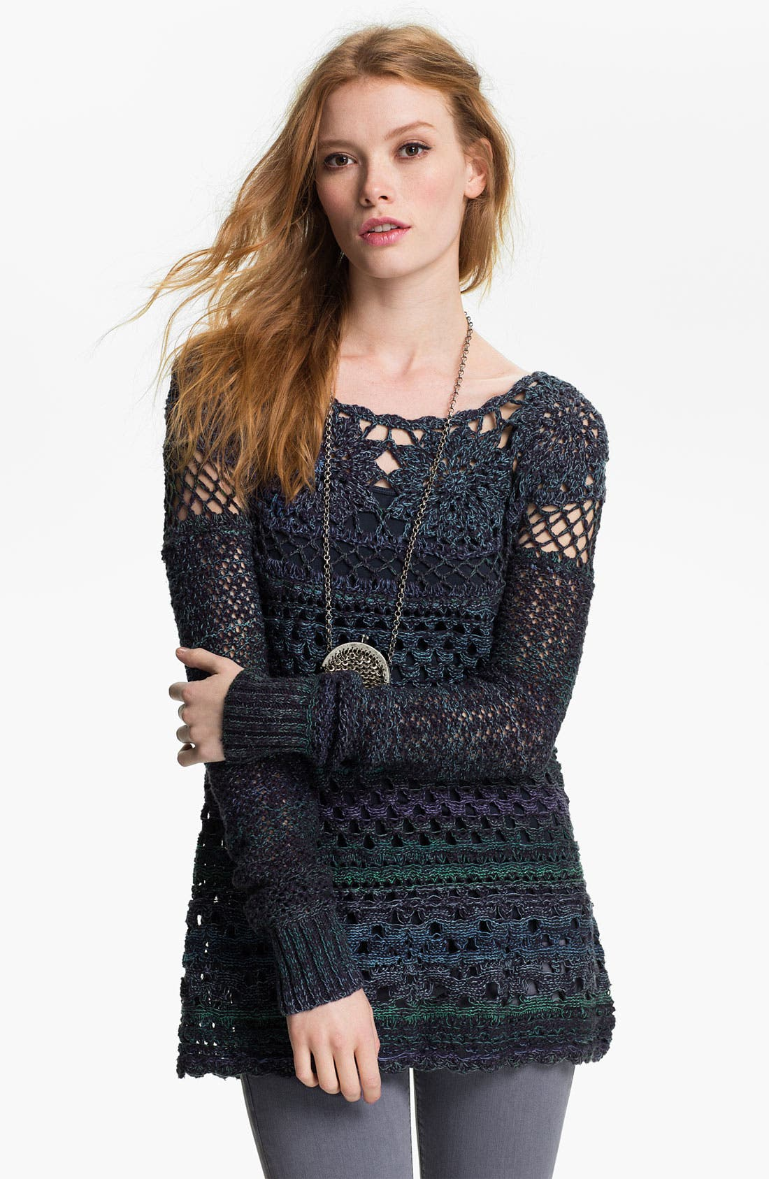 Main Image - Free People 'Ring of Roses' Crochet Sweater