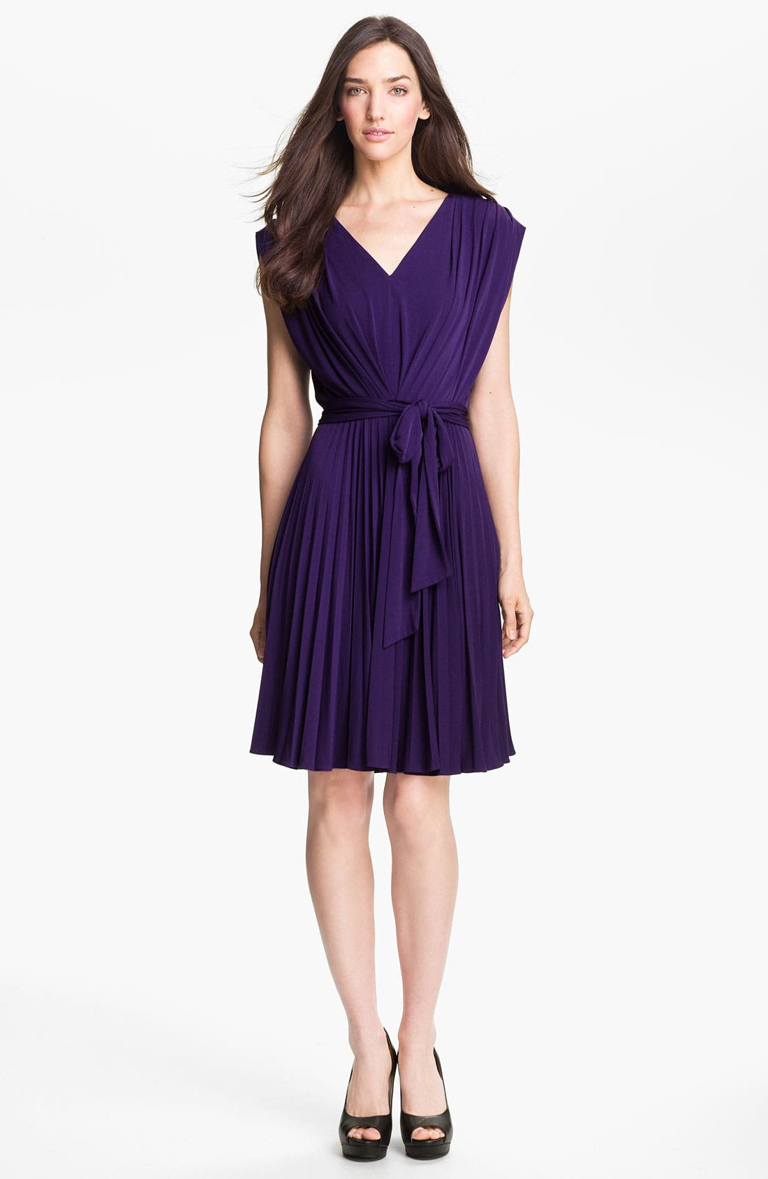 Main Image - Suzi Chin for Maggy Boutique Pleated Jersey Dress