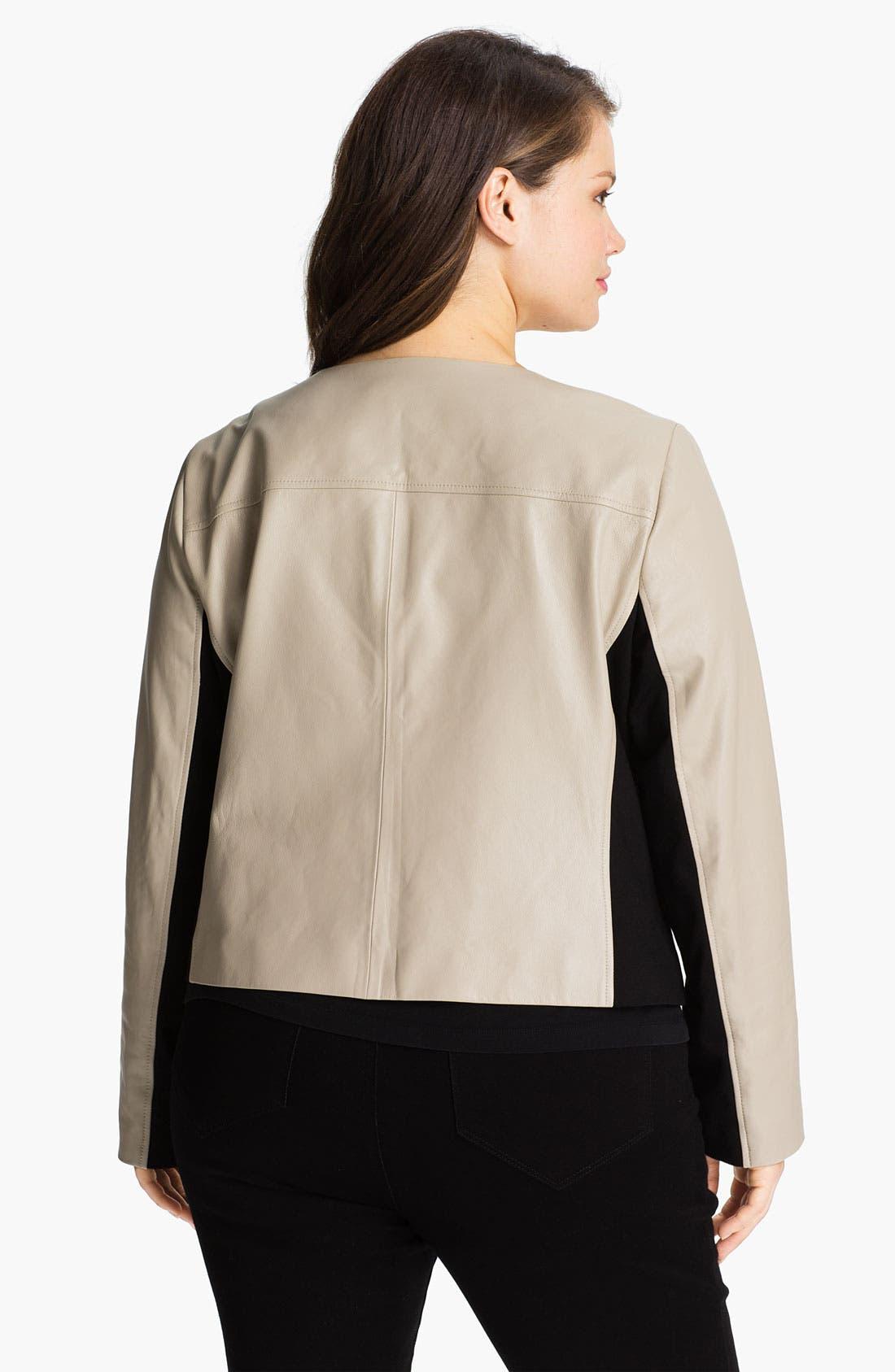 Alternate Image 2  - DKNYC Knit Inset Leather Jacket (Plus)