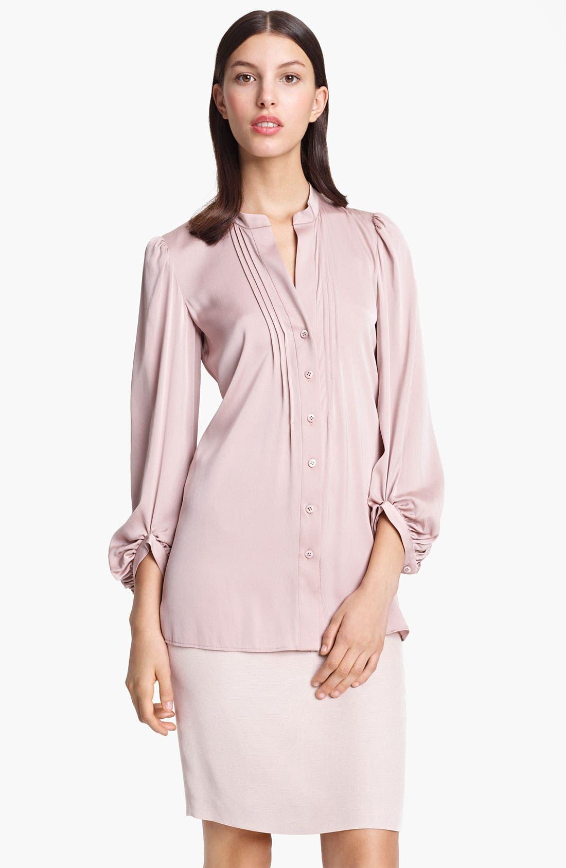 Main Image - Armani Collezioni Pleated Stretch Silk Blouse