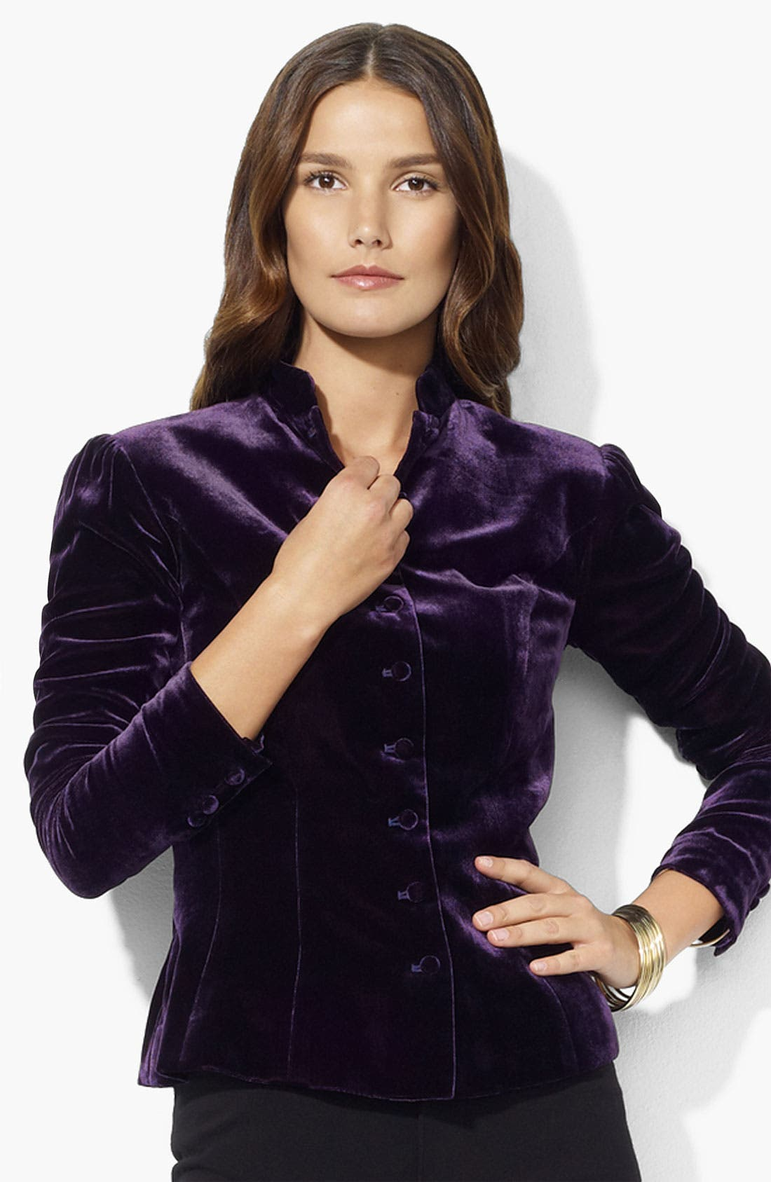 Alternate Image 1 Selected - Lauren Ralph Lauren Velvet Jacket (Petite)