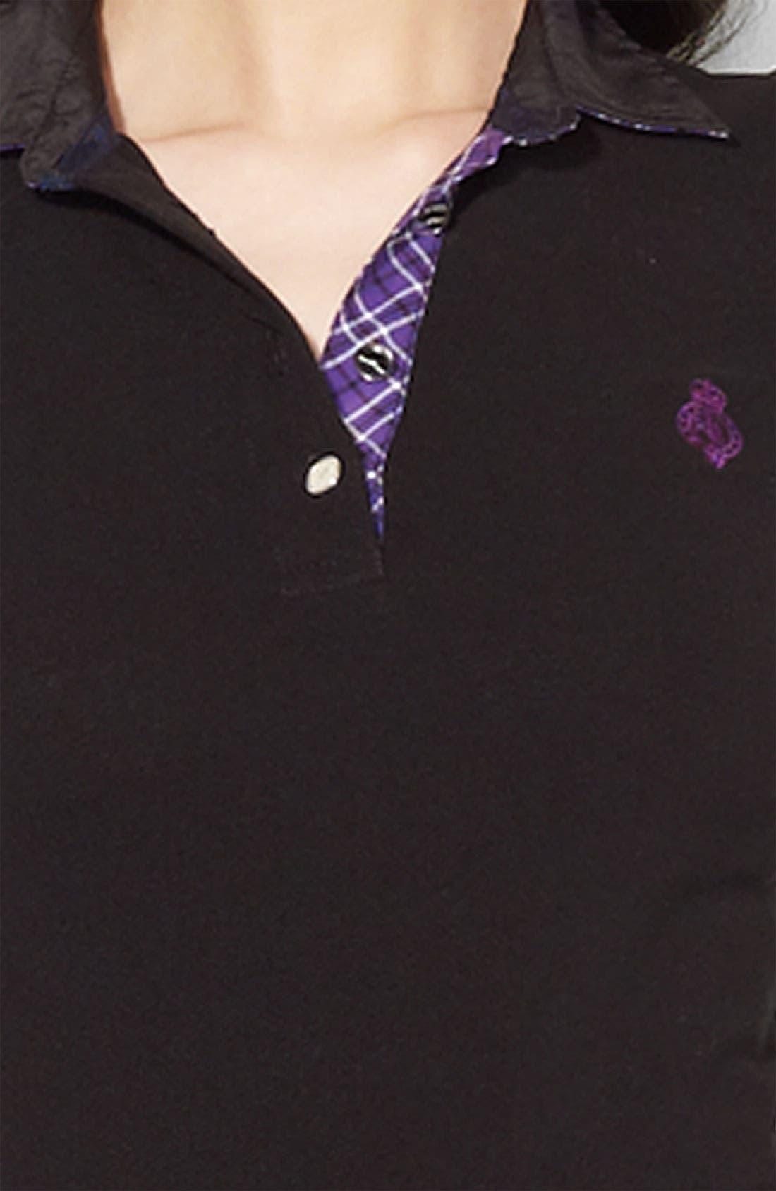 Alternate Image 3  - Lauren Ralph Lauren Plaid Trim Polo (Petite) (Online Exclusive)