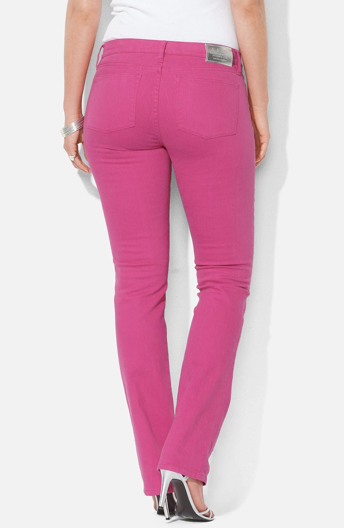 Alternate Image 2  - Lauren Ralph Lauren Slim Straight Leg Colored Jeans (Plus)
