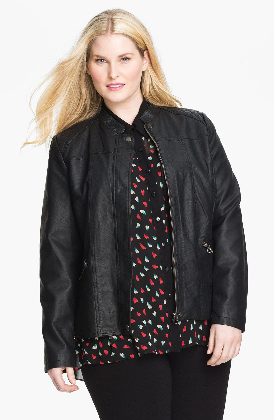 Main Image - Evans Quilted Faux Leather Jacket (Plus Size)