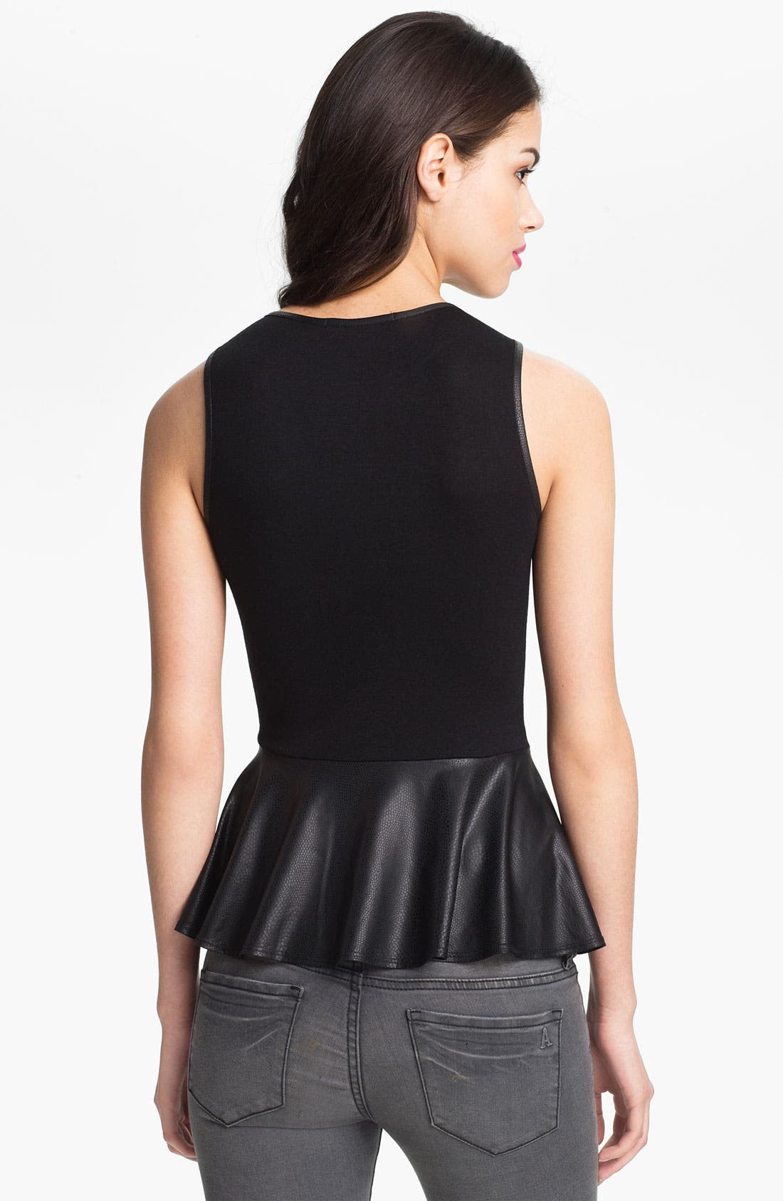 Alternate Image 2  - WallpapHer Faux Leather Peplum Top (Juniors)