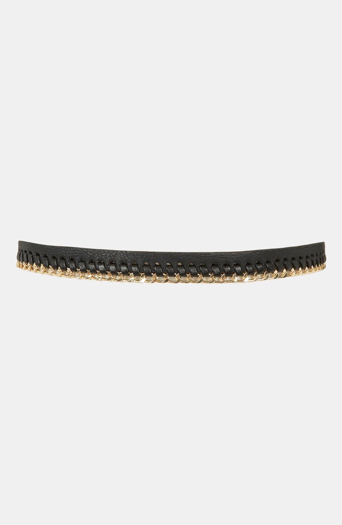 Alternate Image 2  - Topshop Chain Stitch Skinny Belt
