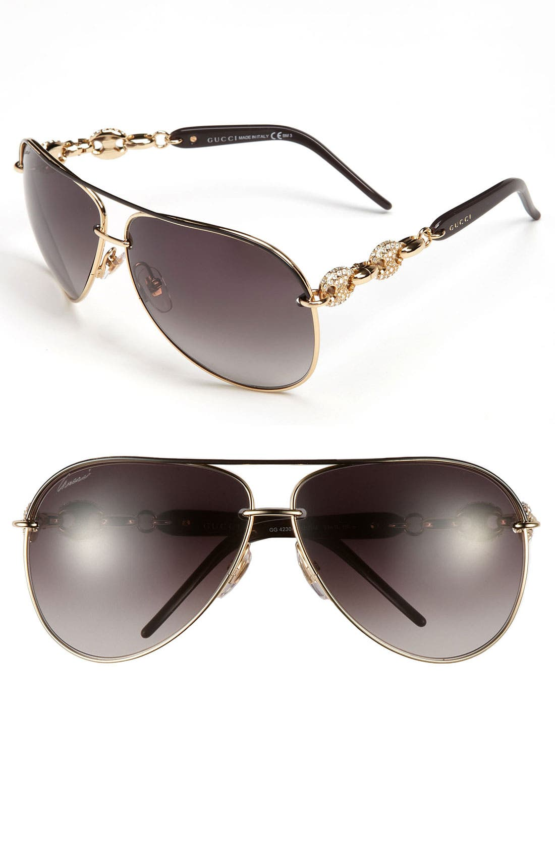 Main Image - Gucci 63mm Embellished Temple Aviator Sunglasses
