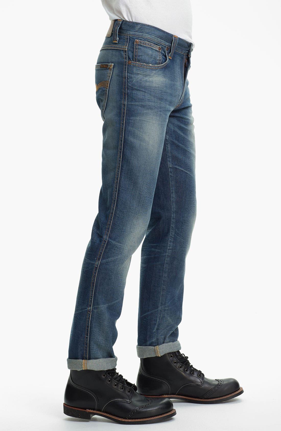 Alternate Image 3  - Nudie 'Slim Jim' Slim Straight Leg Jeans (Organic Broken Dream)