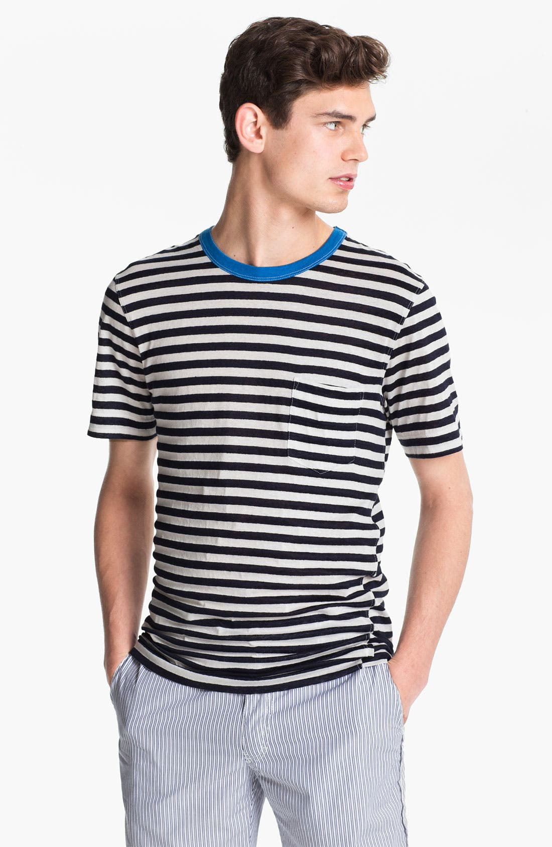 Alternate Image 1 Selected - U Clothing 'Beau' Stripe Pocket Linen & Cotton T-Shirt