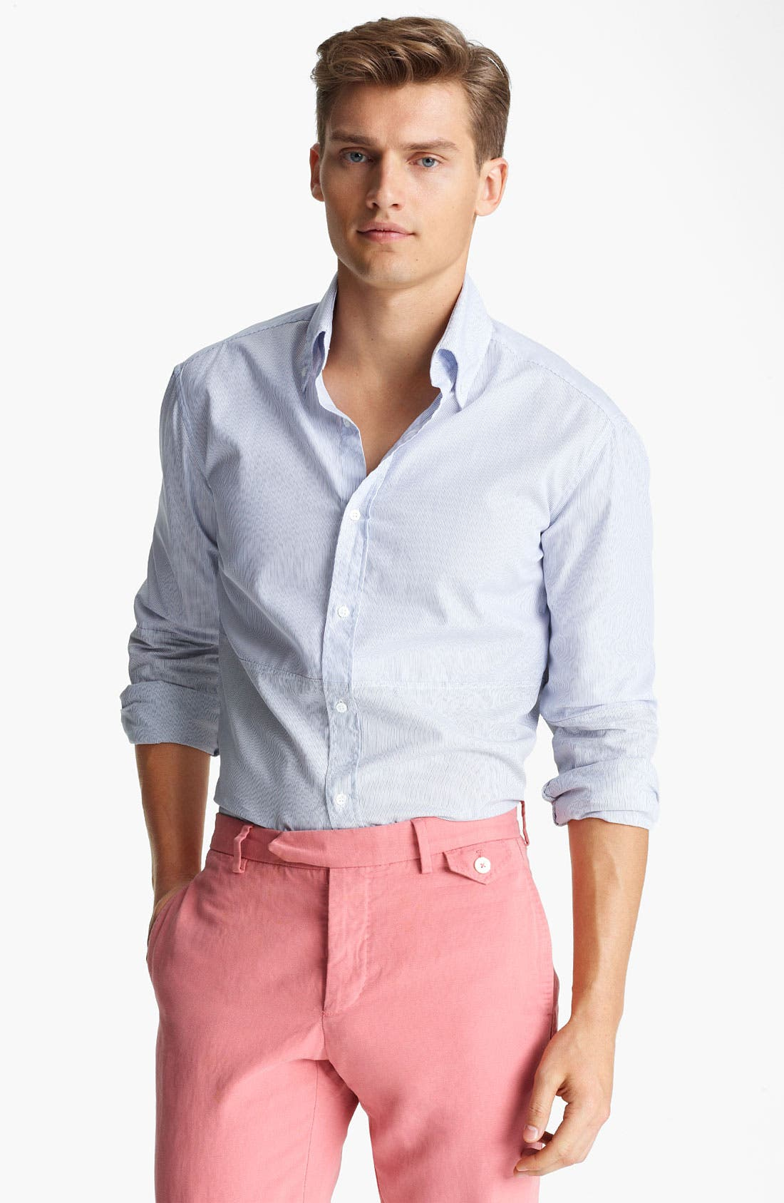 Alternate Image 1 Selected - Michael Bastian Pieced Stripe Woven Shirt