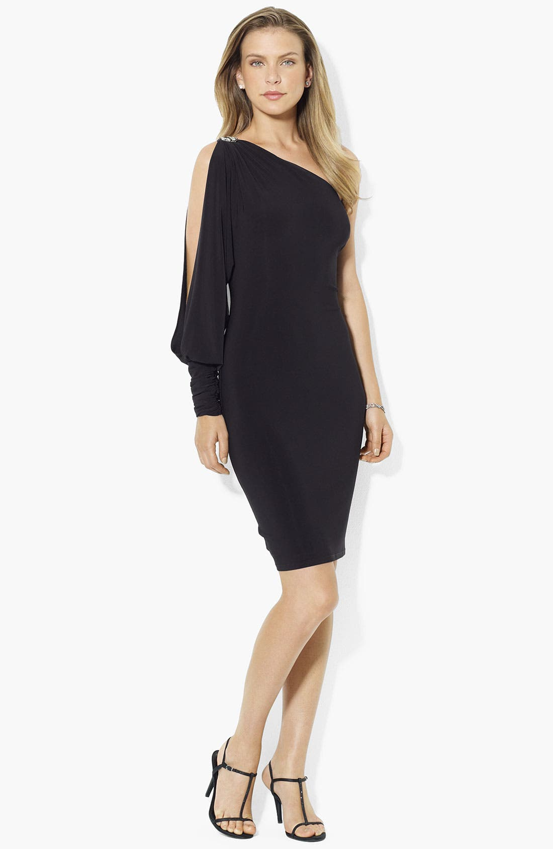 Main Image - Lauren Ralph Lauren One Shoulder Jersey Dress