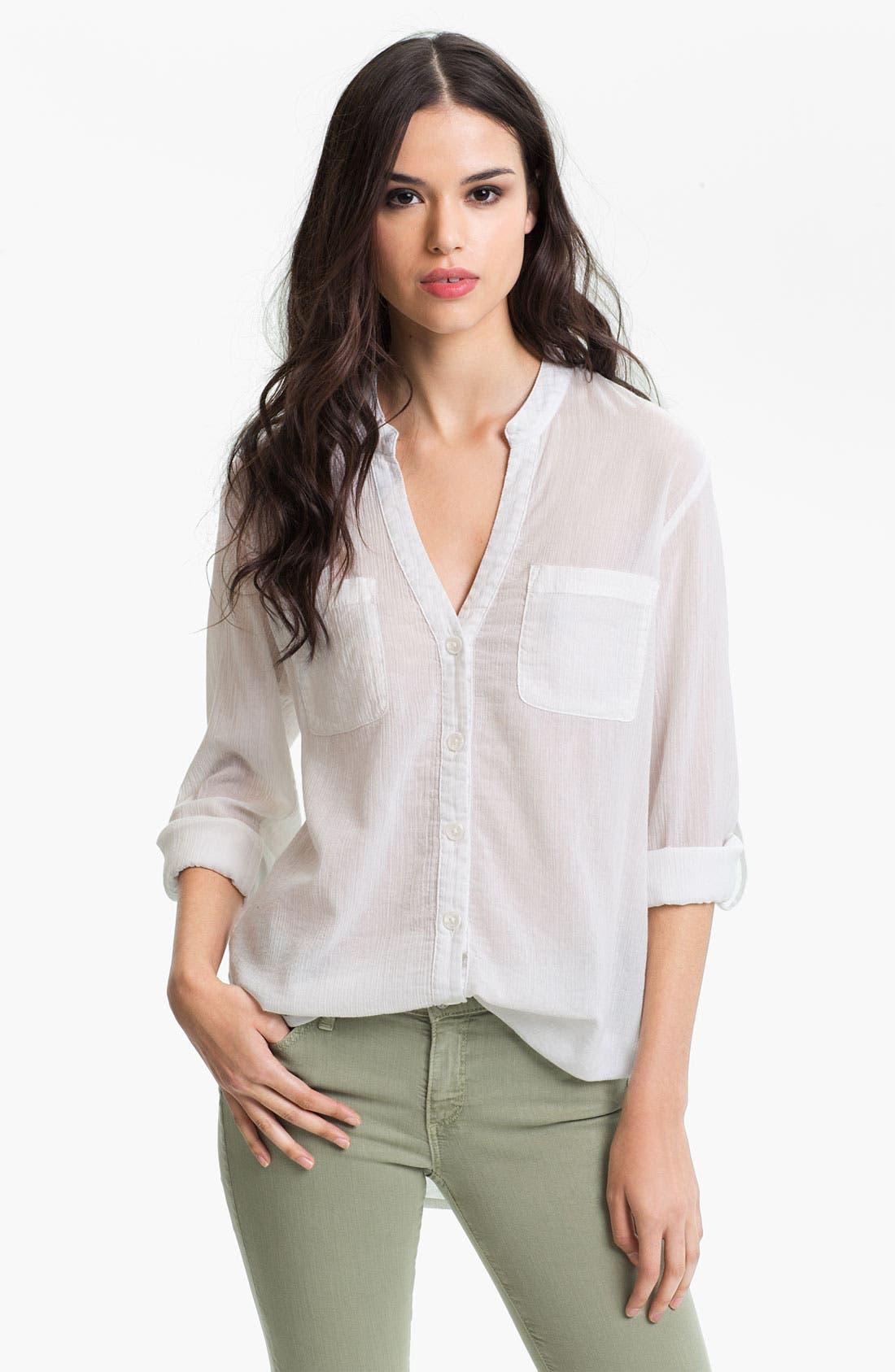 Alternate Image 1 Selected - AG Jeans Crinkled Cotton Pocket Shirt