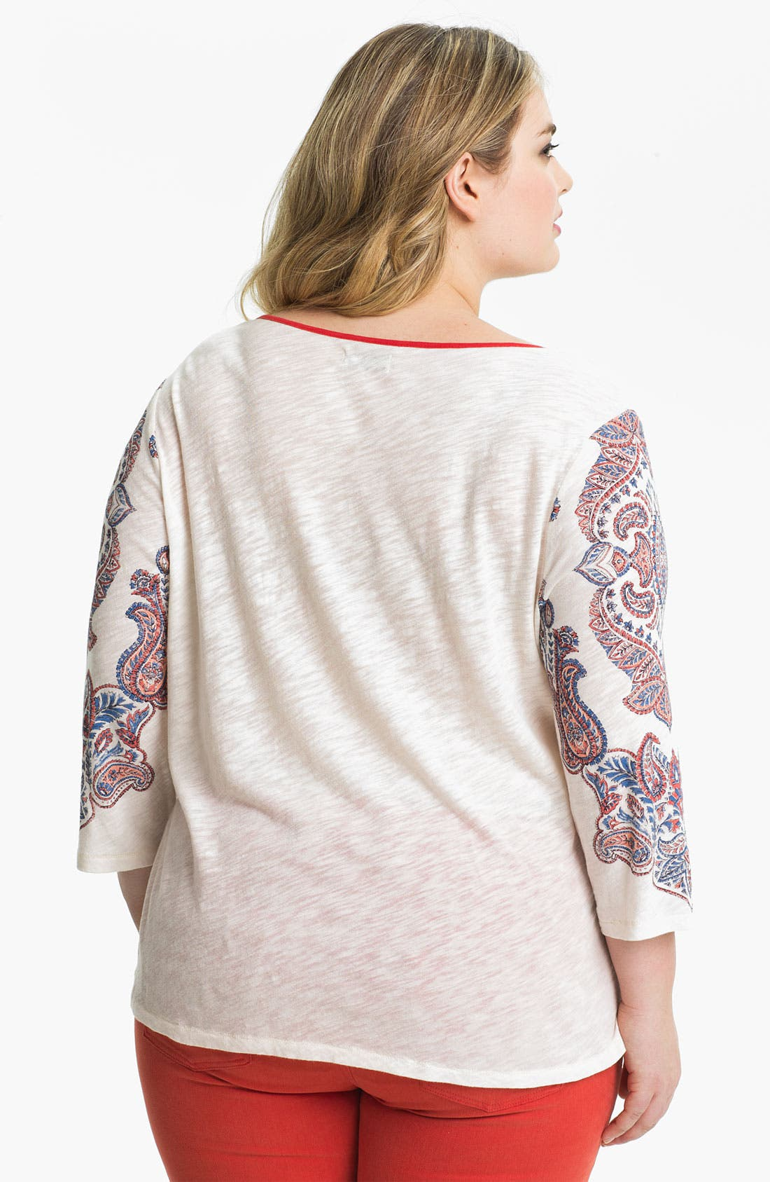 Alternate Image 2  - Lucky Brand Paisley Print Tee (Plus)