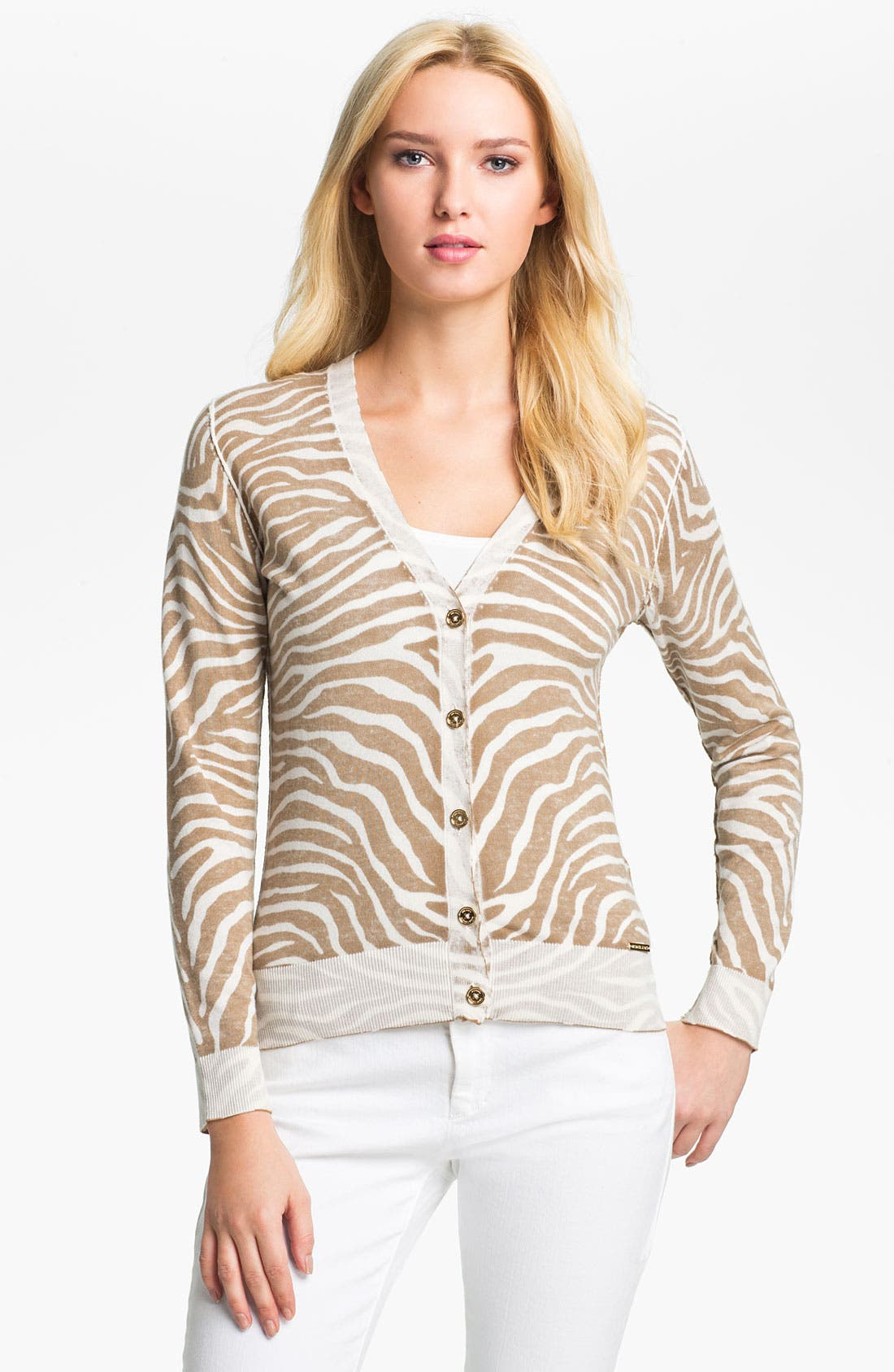 Alternate Image 1 Selected - MICHAEL Michael Kors Zebra Print Cardigan