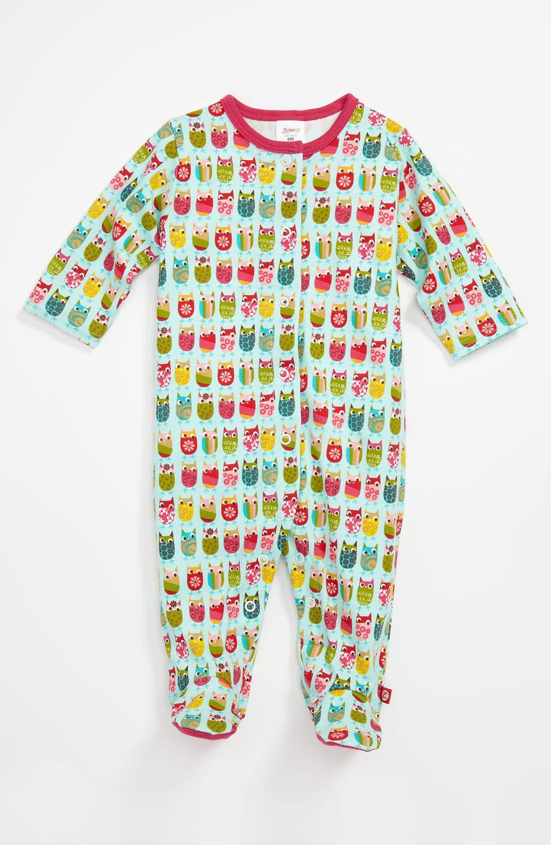 Alternate Image 1 Selected - Zutano 'Owls' Footie (Infant)