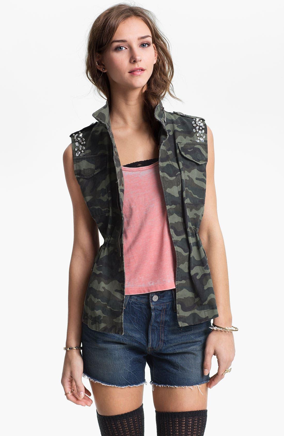 Alternate Image 1 Selected - Jolt Rhinestone Embellished Camo Vest (Juniors)