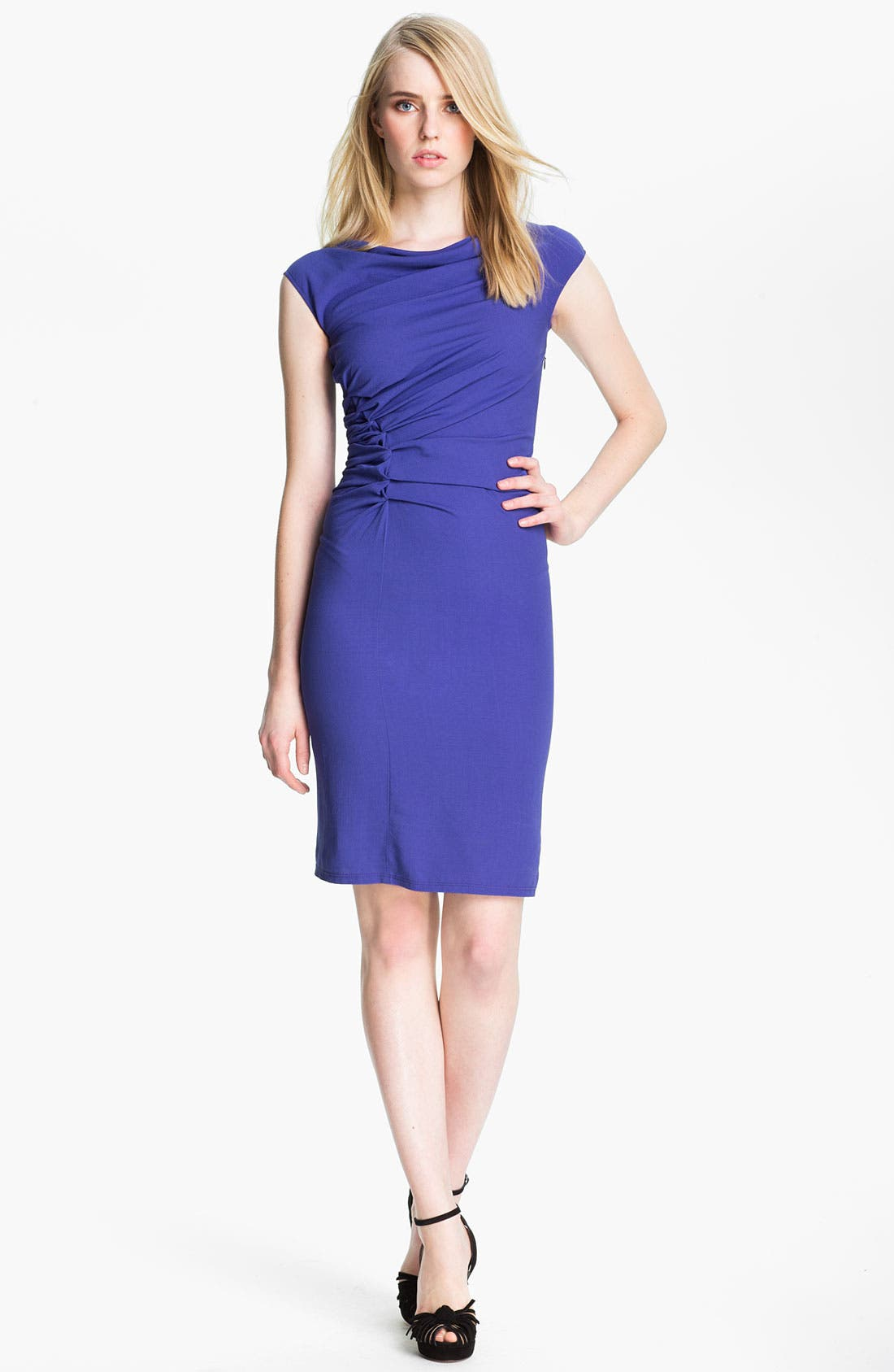 Main Image - Halston Heritage Reverse Pleat Crepe Sheath Dress