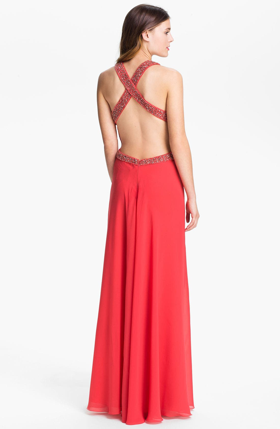 Alternate Image 2  - JS Collections Embellished Pleated Chiffon Gown