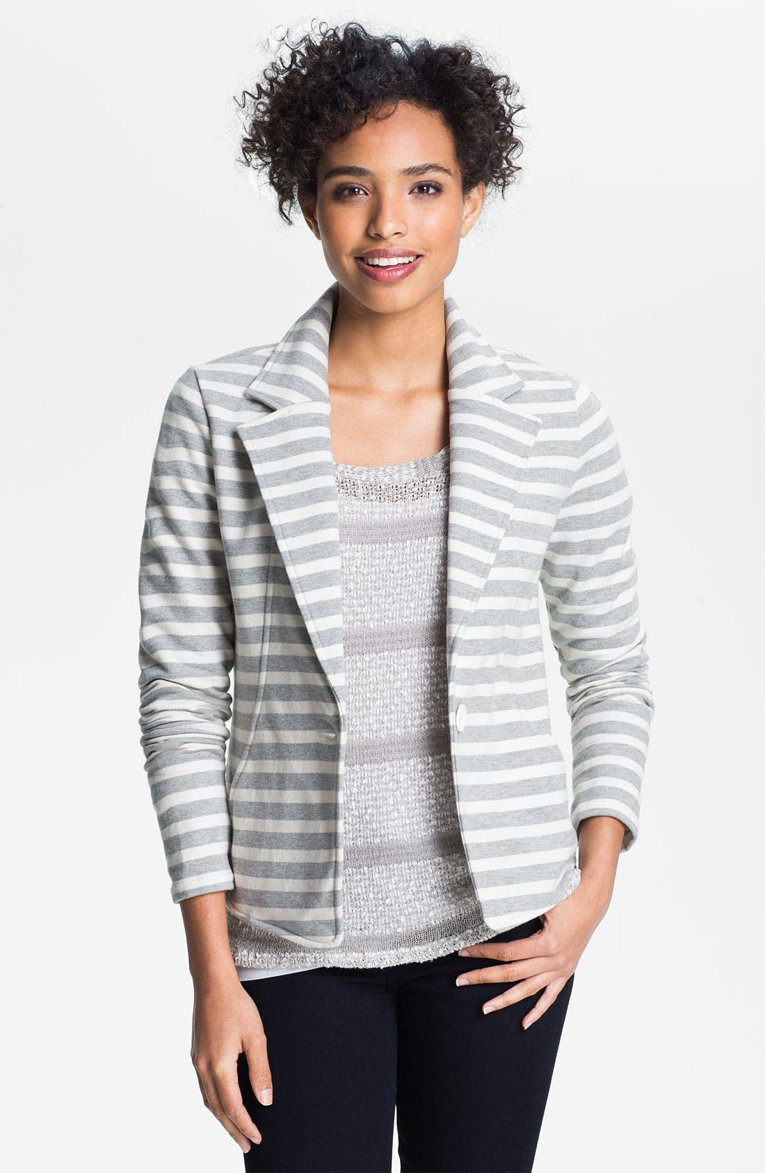 Main Image - Caslon® Three Quarter Sleeve Knit Blazer (Petite)