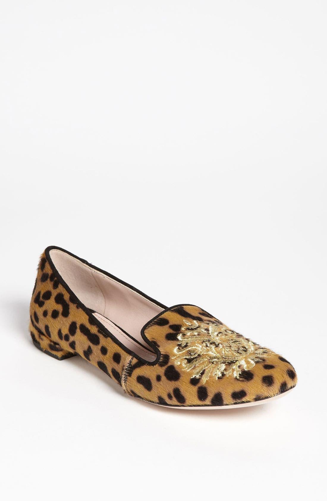 Main Image - Miu Miu Leopard Crest Smoking Flat