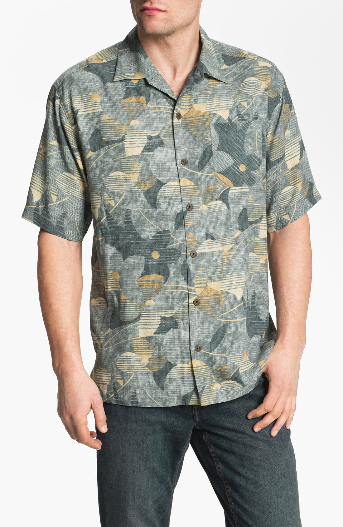 Alternate Image 1 Selected - Tommy Bahama 'Shore Excursion' Silk Campshirt