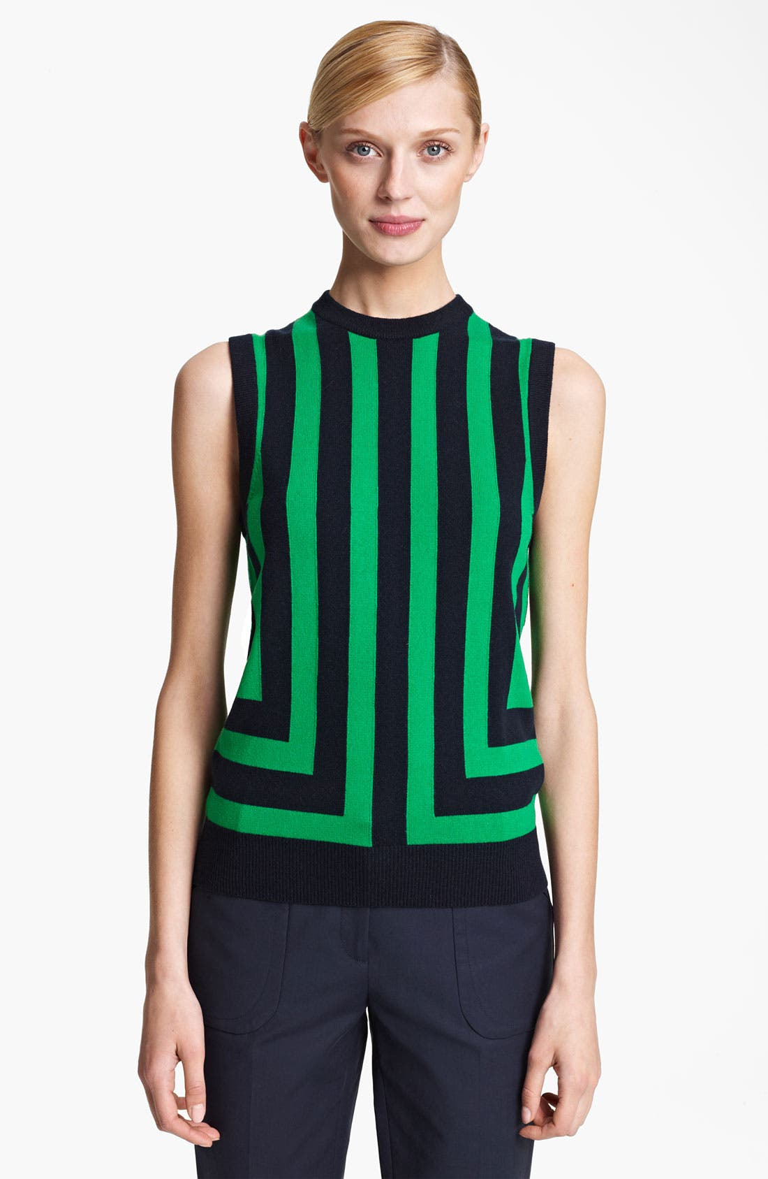 Alternate Image 1 Selected - Michael Kors Stripe Cashmere Shell