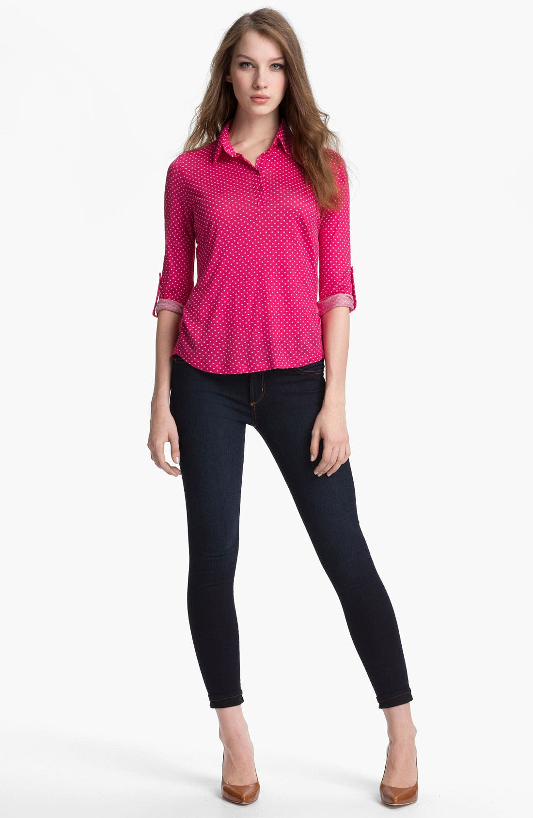 Alternate Image 4  - Pleione Half Placket Mini Dot Top (Petite)