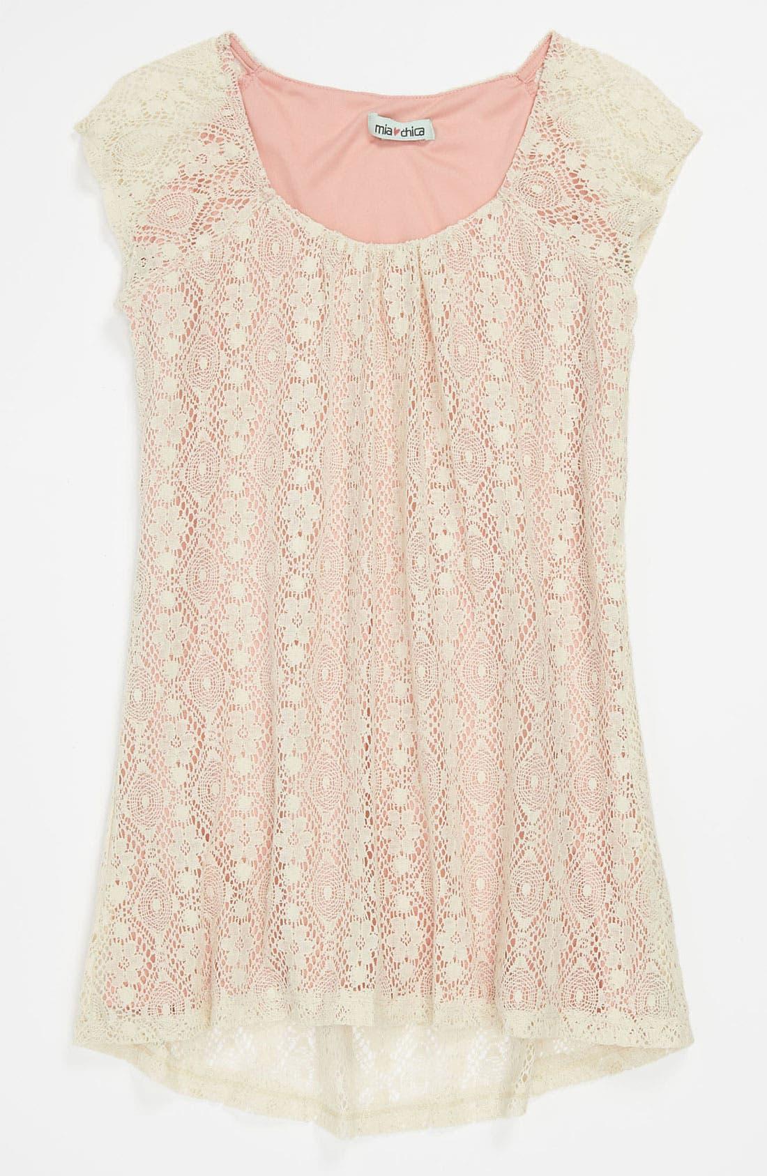 Main Image - Mia Chica Lace Overlay Trapeze Dress (Big Girls)
