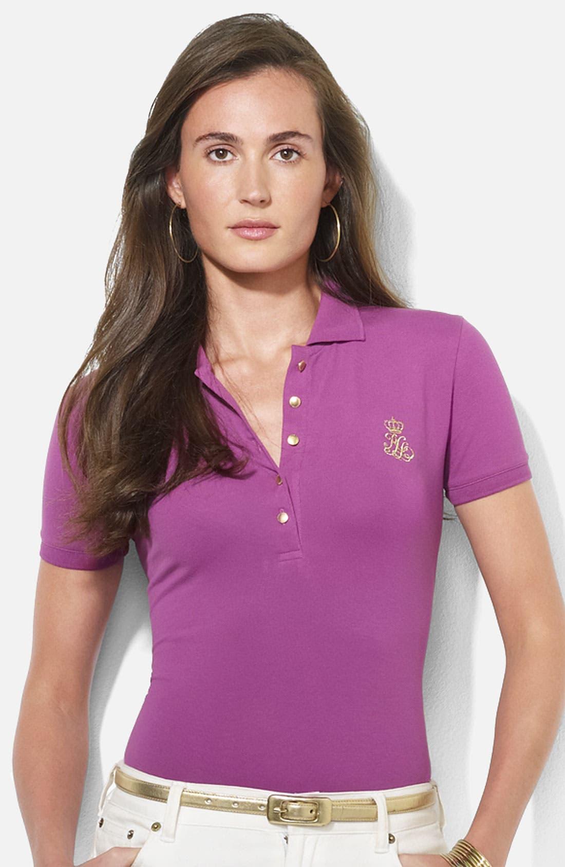 Main Image - Lauren Ralph Lauren Embroidered Polo (Petite) (Online Exclusive)