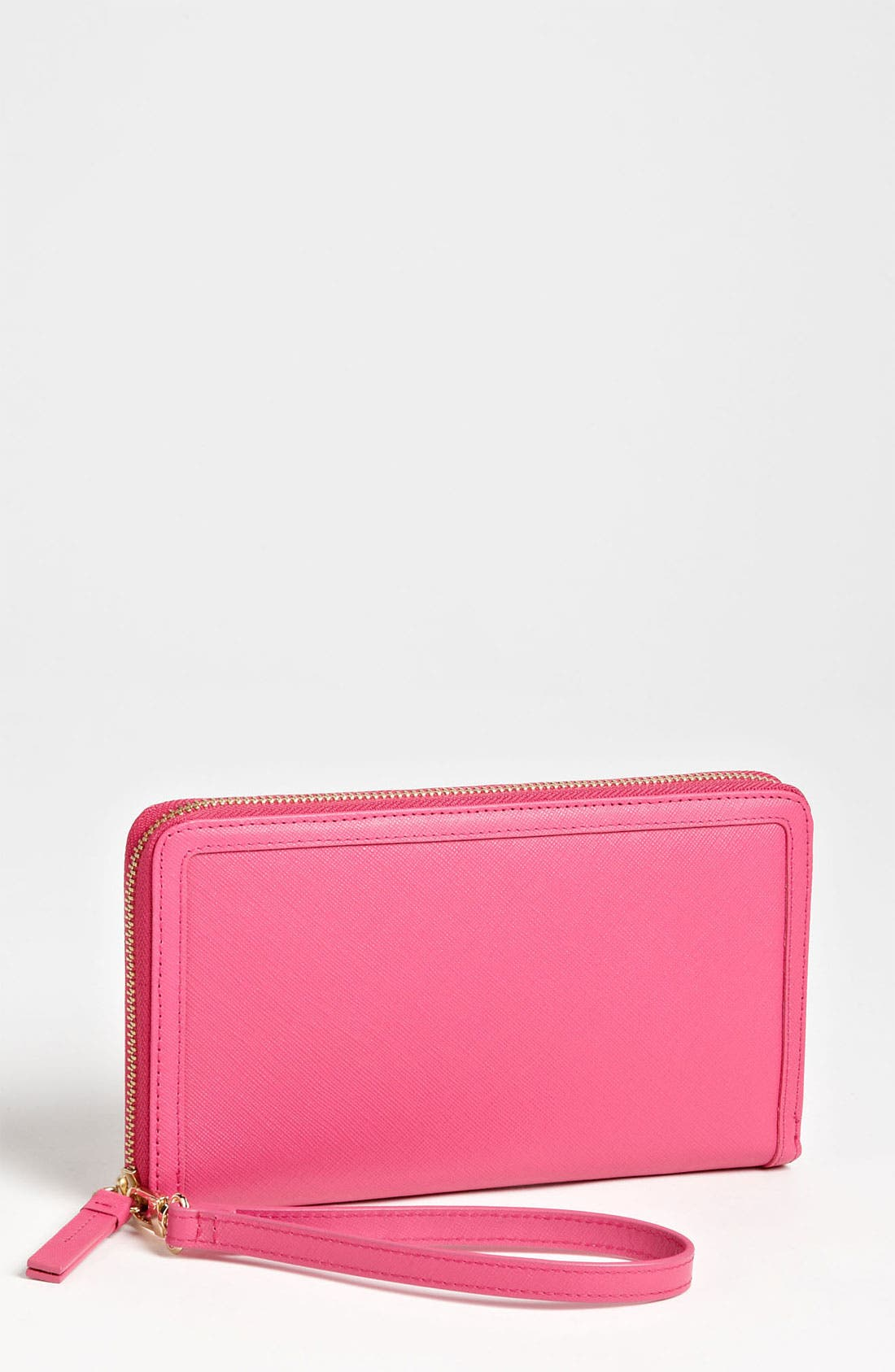Zip Around Leather Travel Wallet,                         Main,                         color, Beetroot Saffiano