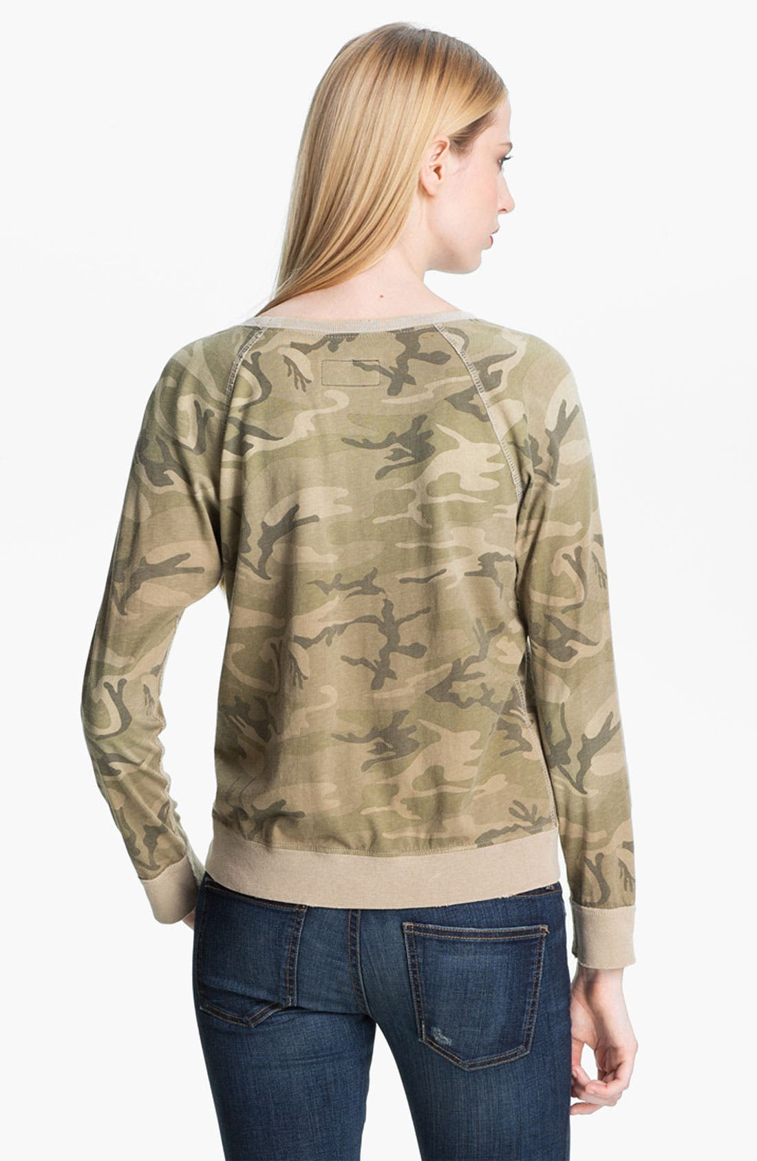 Alternate Image 3  - Current/Elliott 'Letterman' Camo Print Sweatshirt