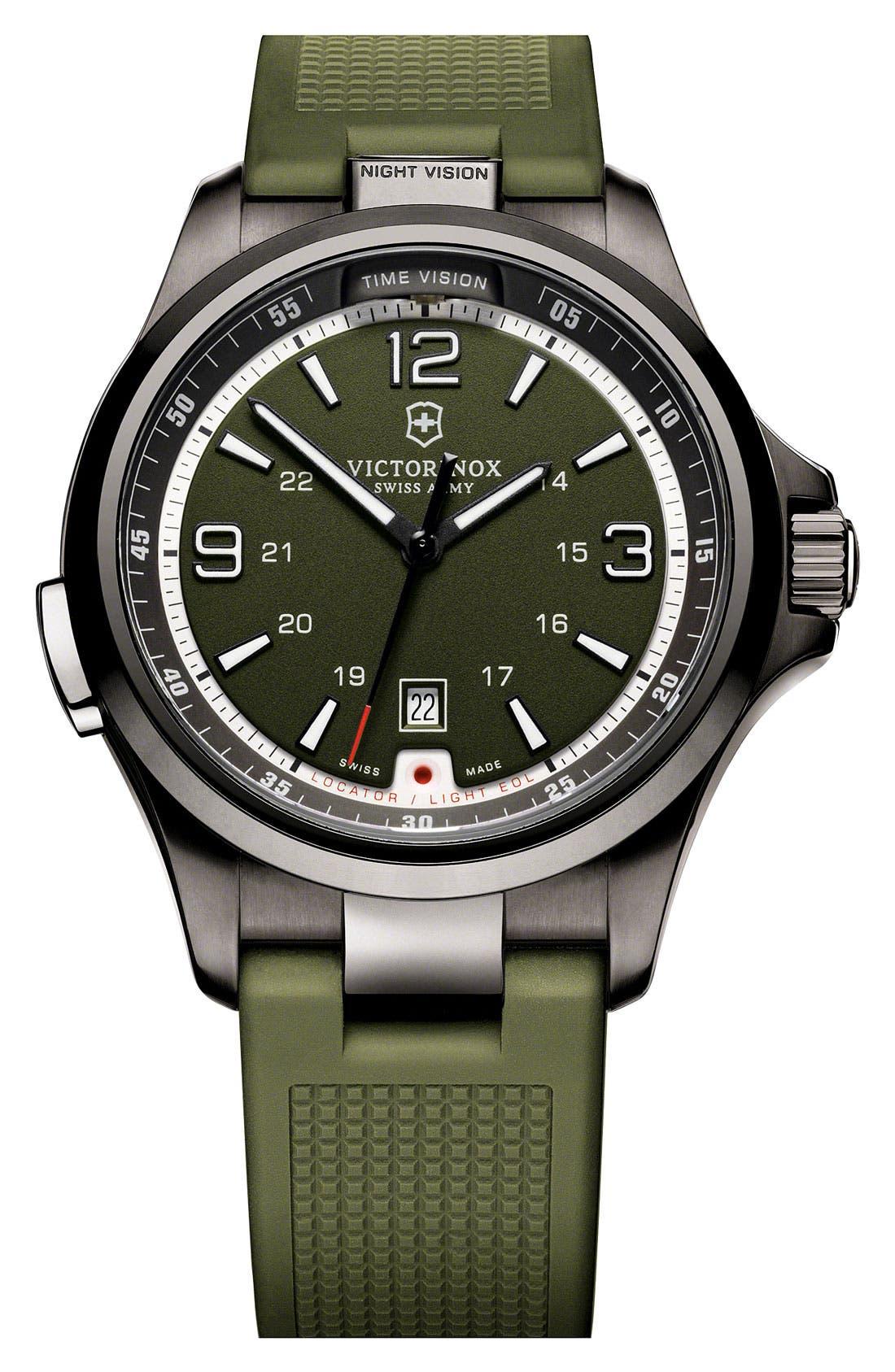 Main Image - Victorinox Swiss Army® 'Night Vision' Rubber Strap Watch, 42mm