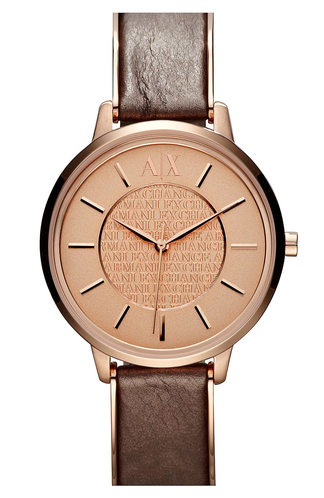 Main Image - AX Armani Exchange Leather Strap Watch, 38mm (Online Only)
