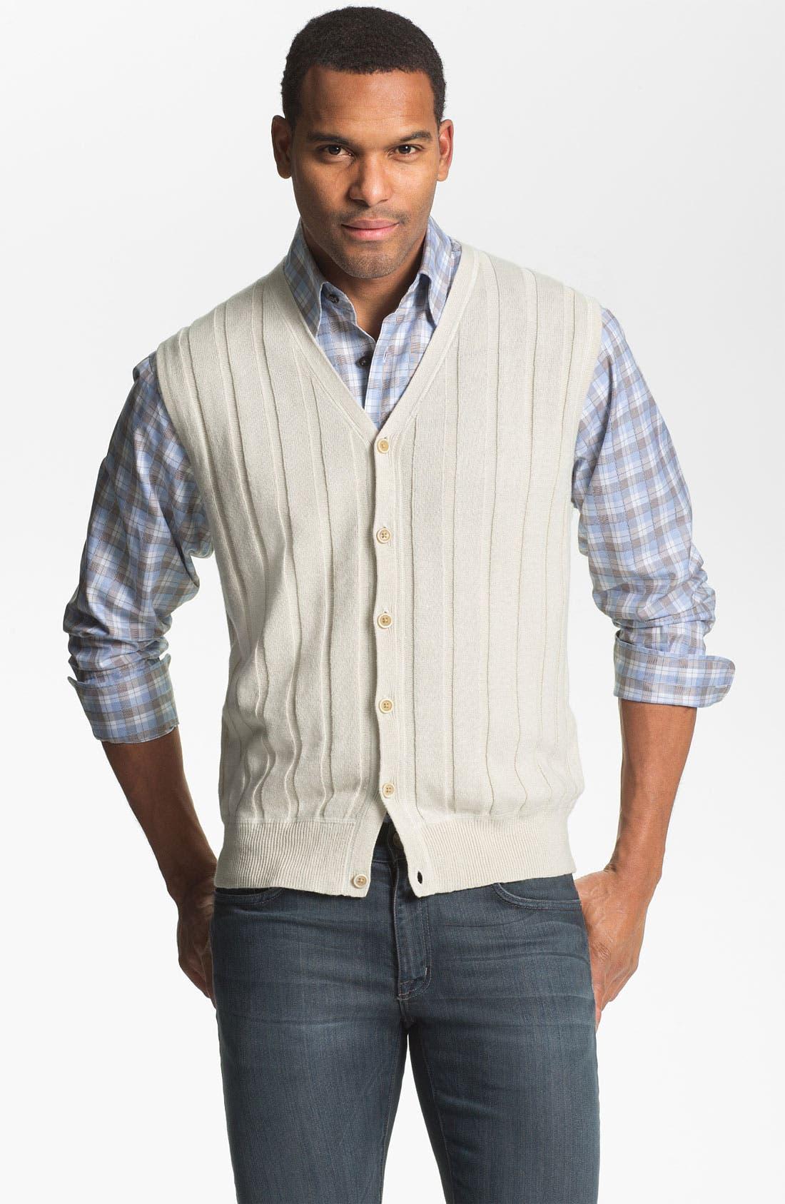 Alternate Image 1 Selected - Robert Talbott Linen & Cotton Sweater Vest