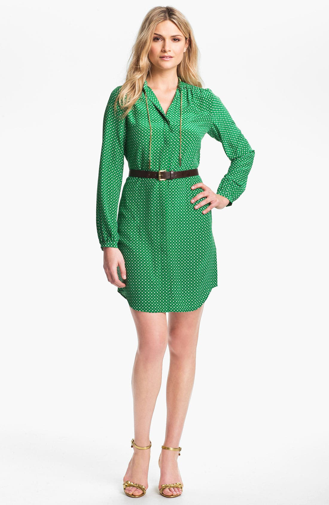 Main Image - MICHAEL Michael Kors Chain Trim Shirtdress (Regular & Petite)