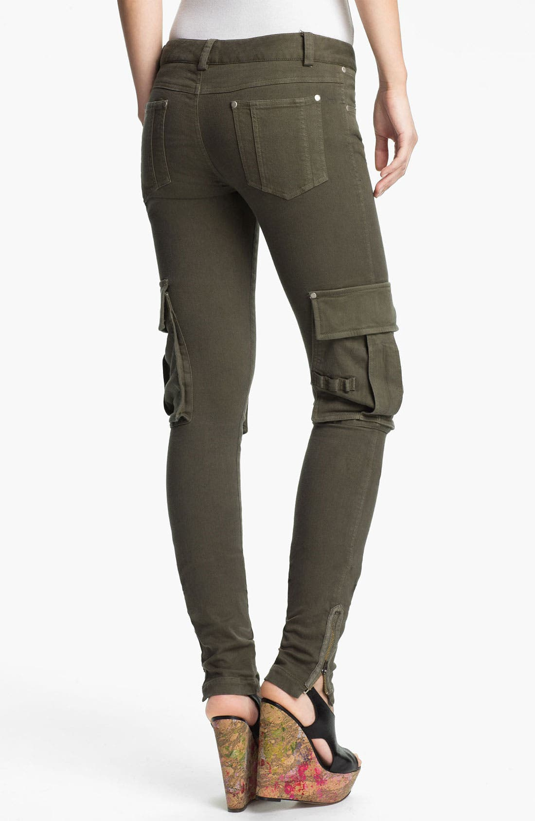 Alternate Image 2  - Alice + Olivia Zip Detail Skinny Cargo Pants