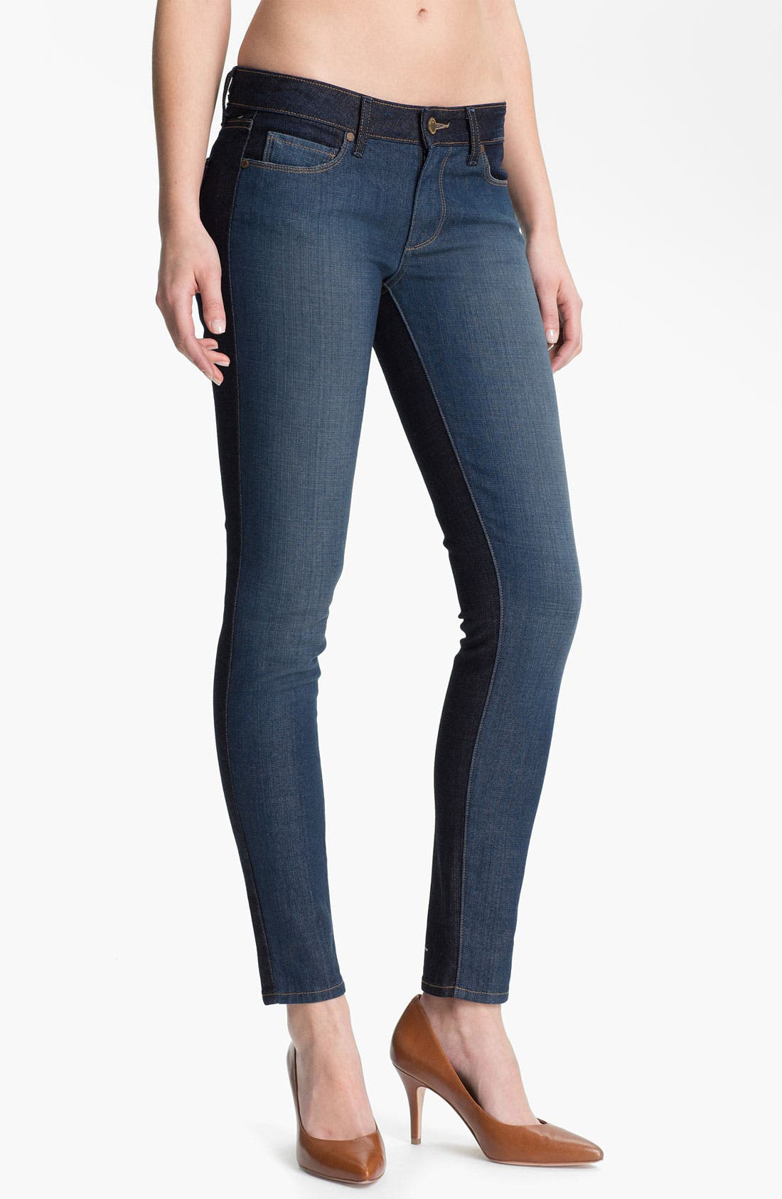 Main Image - Paige Denim 'Emily' Two Tone Ultra Skinny Jeans (Kala)