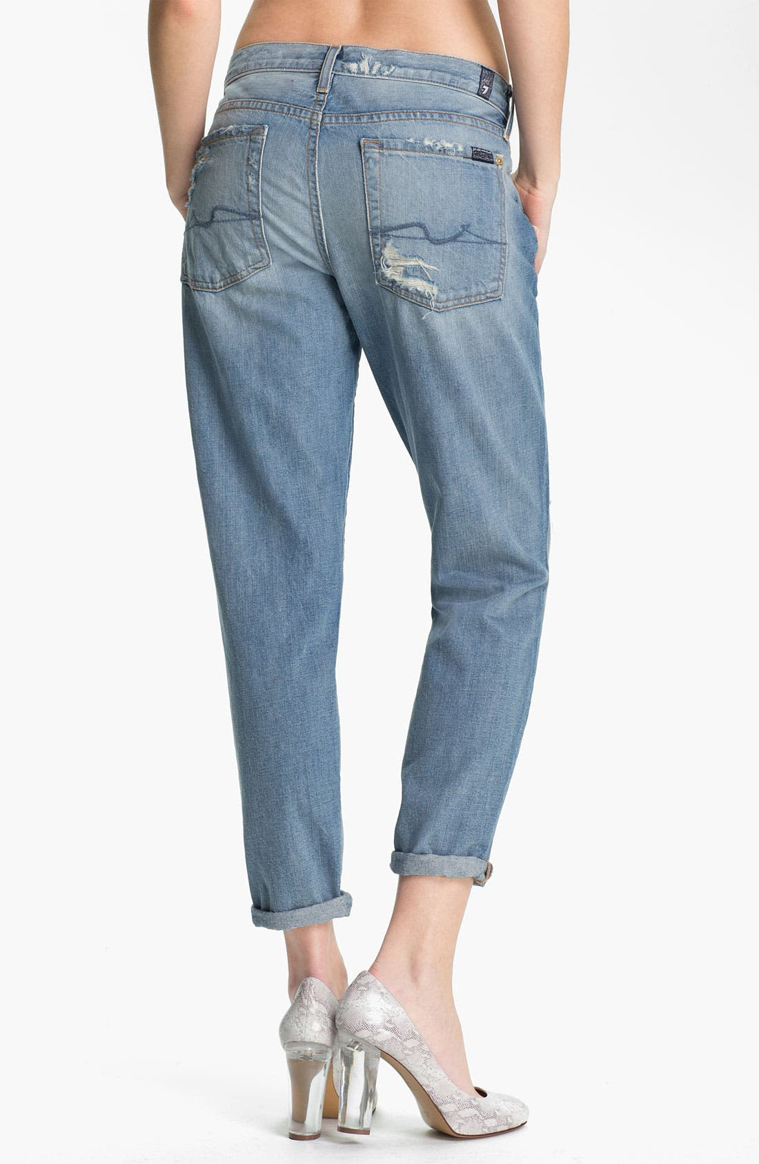 Alternate Image 2  - 7 For All Mankind® 'Josefina' Crop Jeans (Light Destroyed)