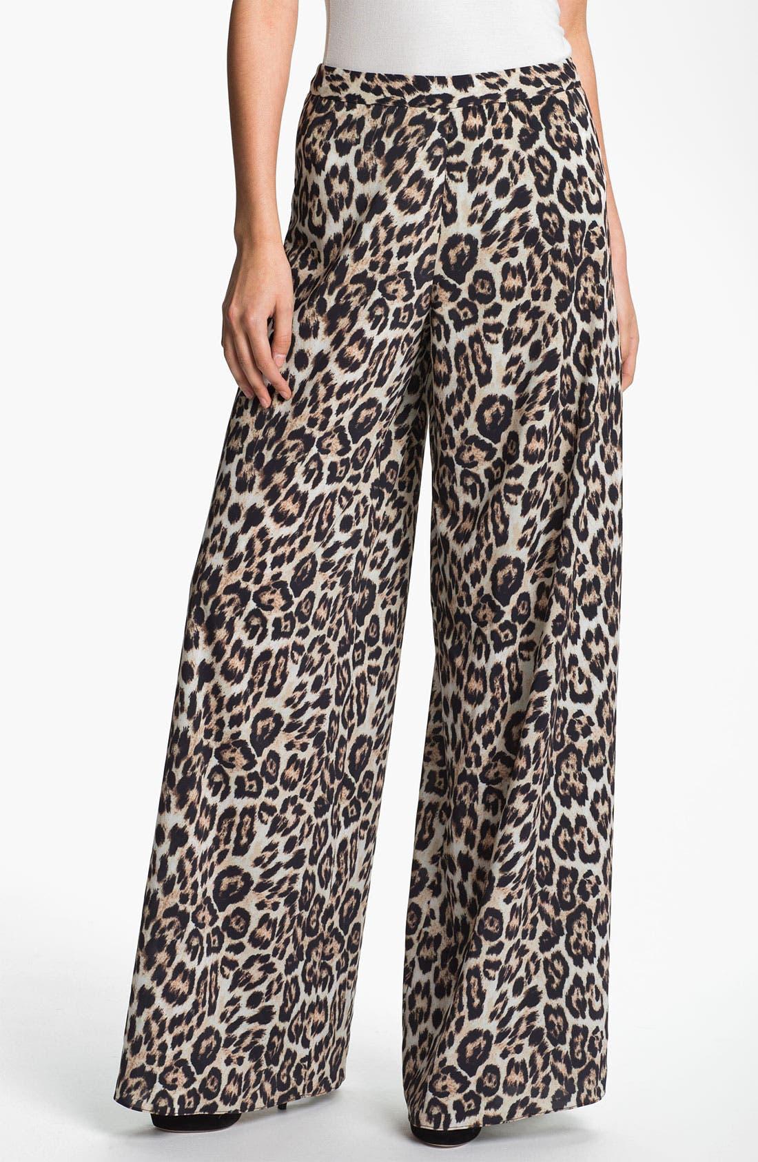 Main Image - Alice + Olivia Leopard Print Wide Leg Pants