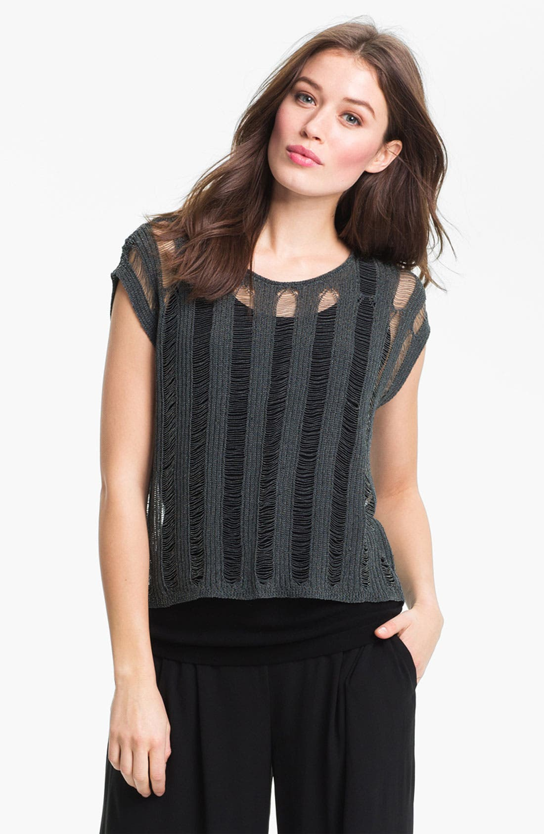Alternate Image 1 Selected - Eileen Fisher Shredded Scoop Neck Sweater (Online Only)