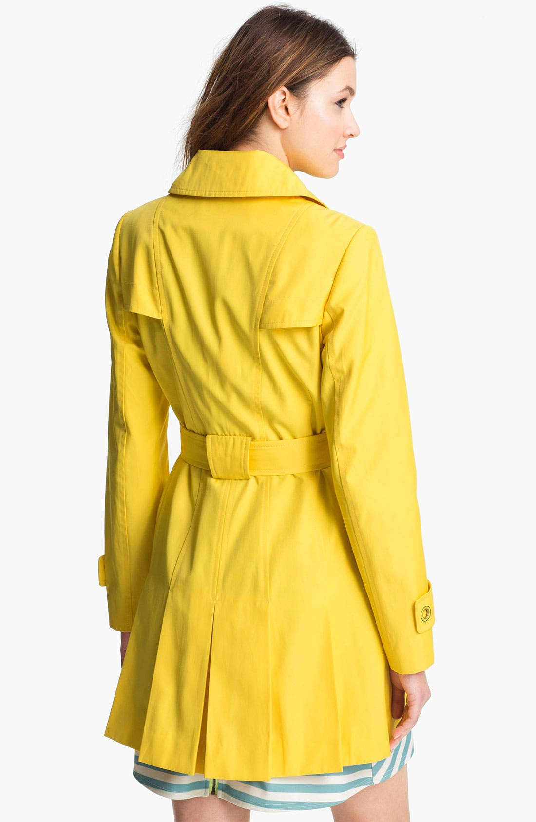 Alternate Image 2  - Via Spiga Pleated Trench Coat (Regular & Petite)