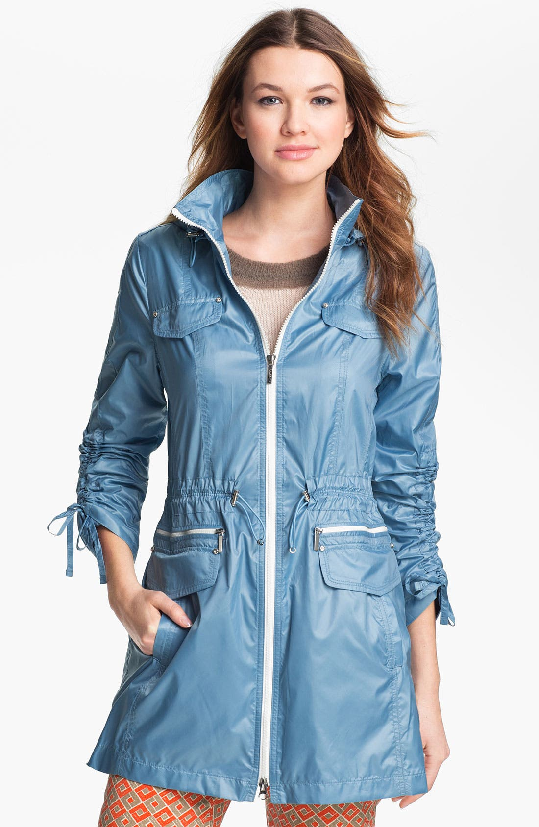 Main Image - Laundry by Shelli Segal Drawstring Sleeve Packable Anorak