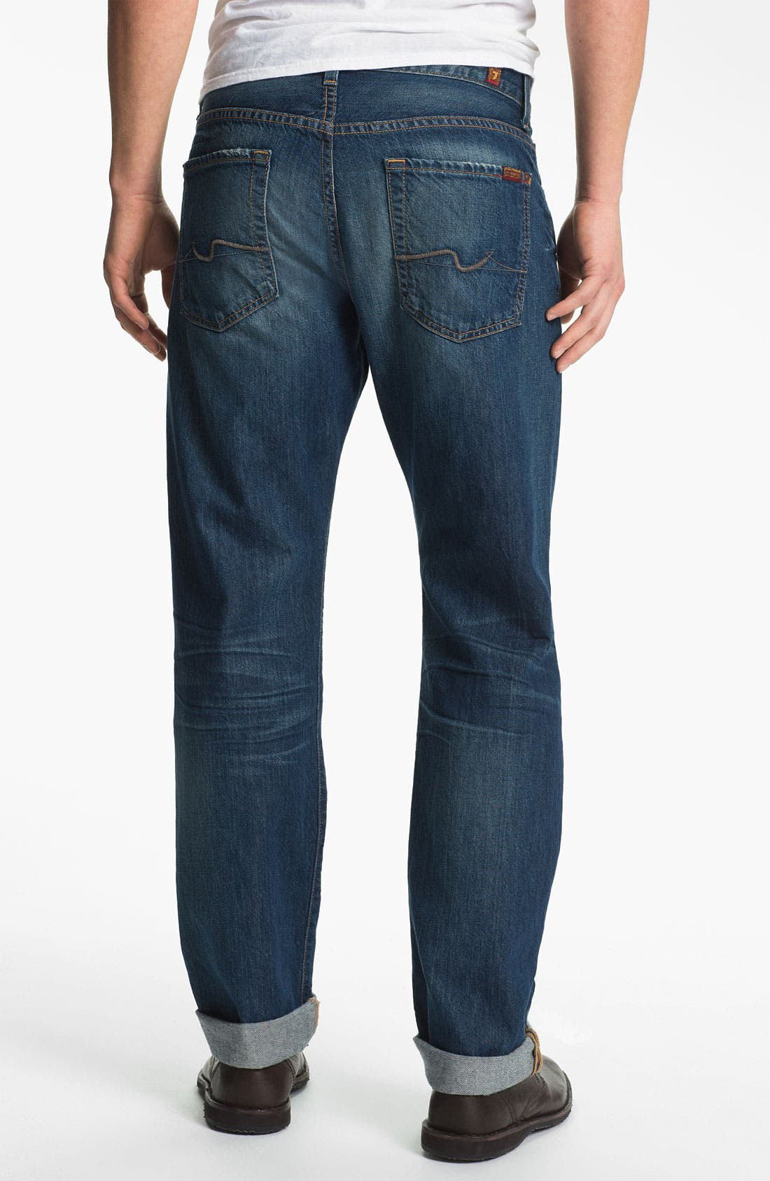 Alternate Image 1 Selected - 7 For All Mankind® 'Carsen' Straight Leg Jeans (Juniper Bay)