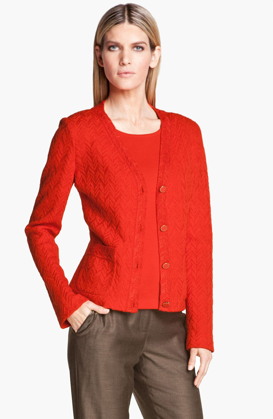Alternate Image 1 Selected - St. John Collection Patch Pocket Cardigan