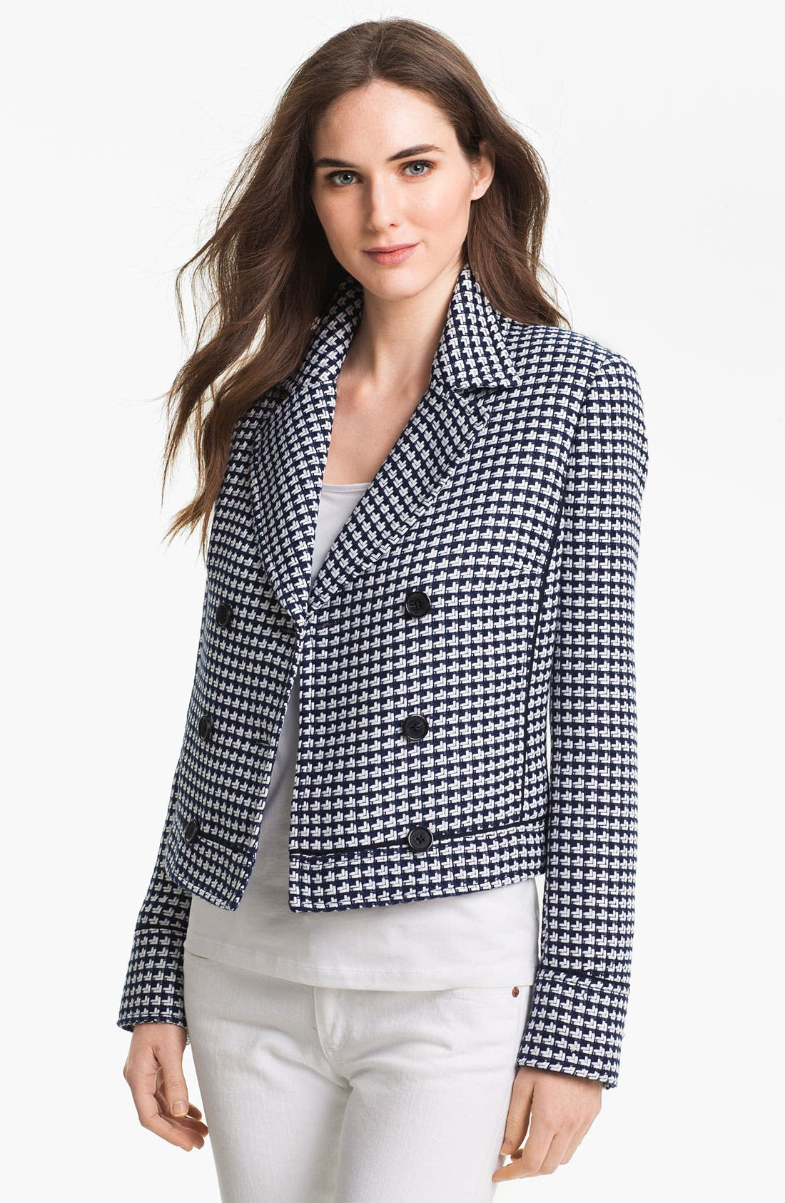 Main Image - Anne Klein Ribbon Tweed Peacoat