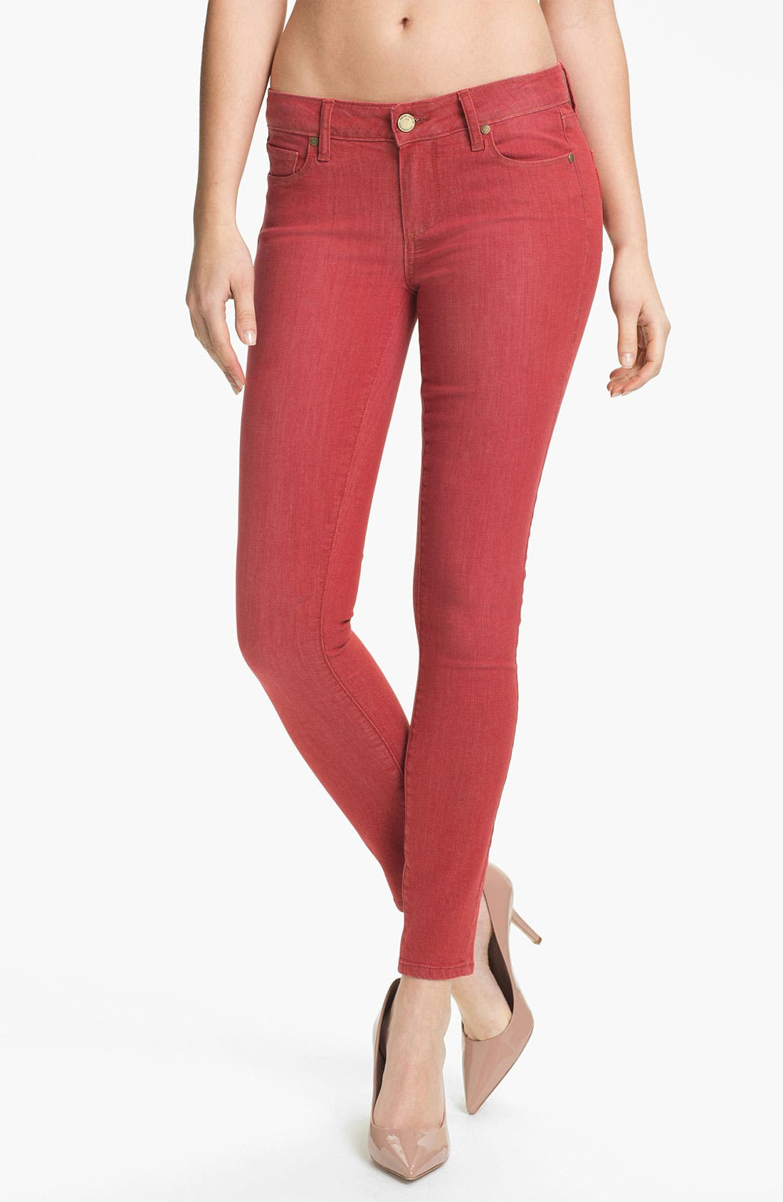 Alternate Image 1 Selected - Paige Denim 'Verdugo' Skinny Stretch Denim Jeans (Vintage Red)