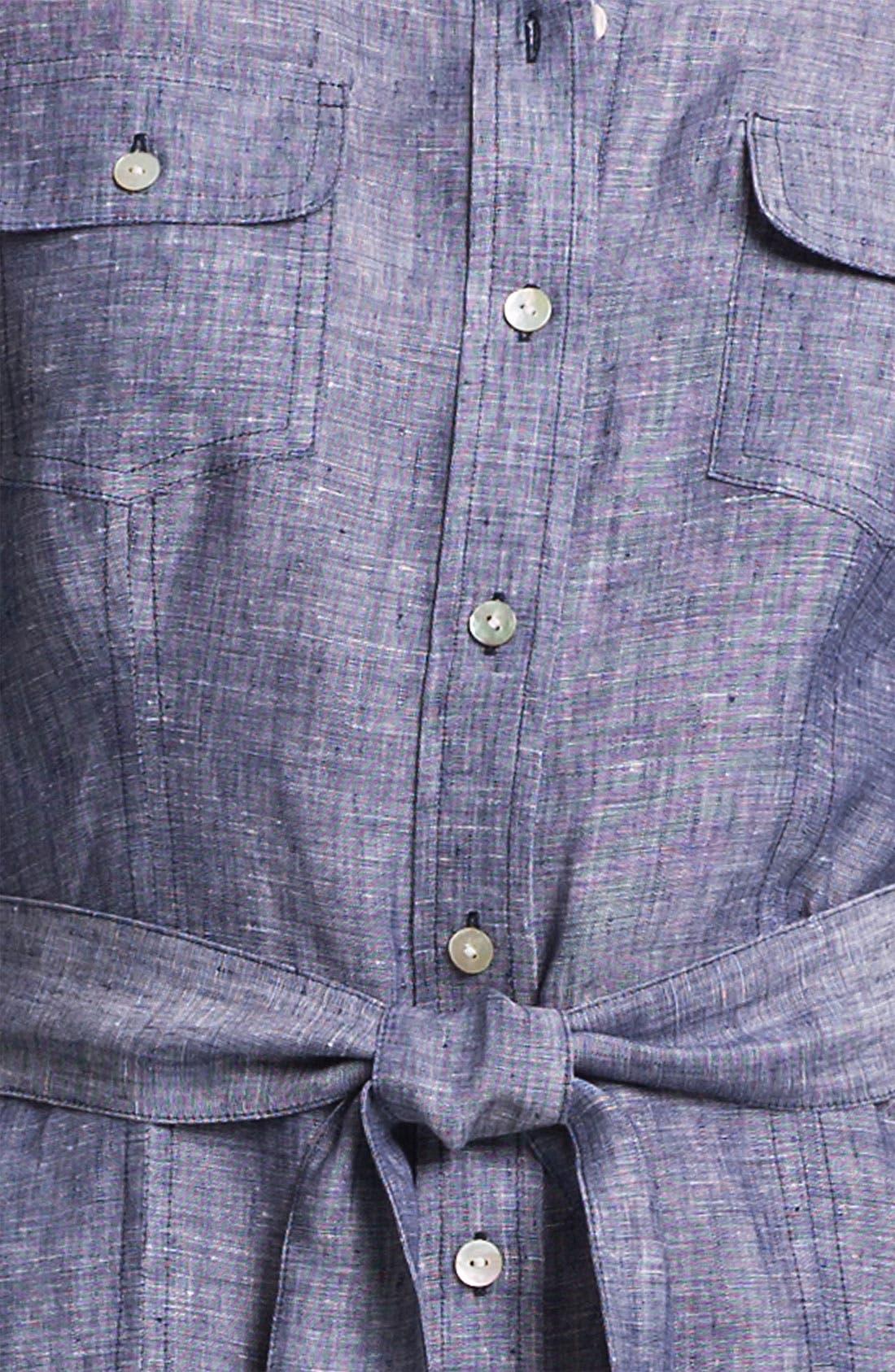 Alternate Image 3  - Foxcroft Chambray Linen Shirtdress