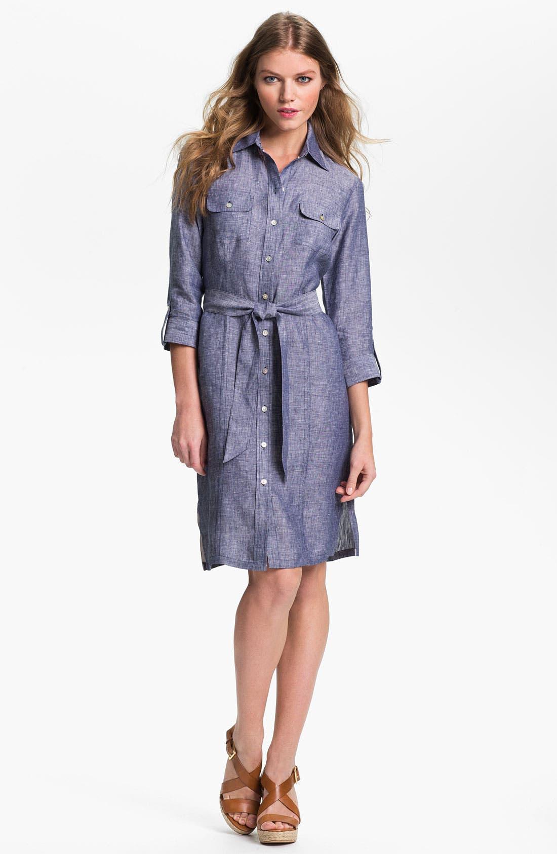 Alternate Image 1 Selected - Foxcroft Chambray Linen Shirtdress