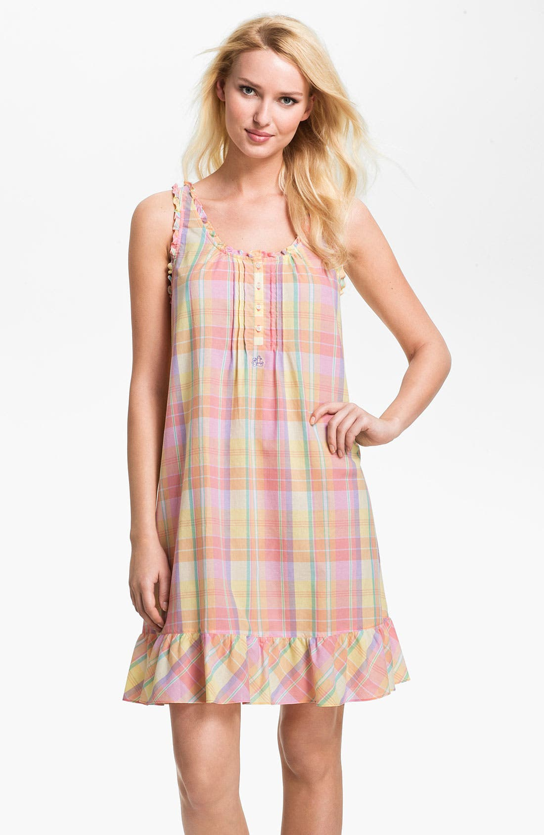 Main Image - Lauren Ralph Lauren Sleeveless Ruffle Nightgown