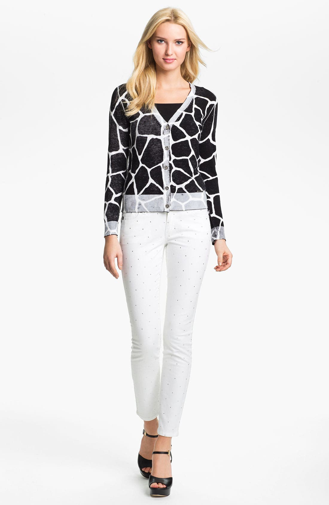 Alternate Image 4  - MICHAEL Michael Kors 'Inside Out' V-Neck Cardigan (Petite)